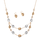 Mixed Metal Layered Necklace and Earring Set
