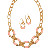 Modern Links Statement Necklace and Earring Set