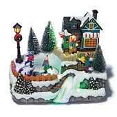 Holiday Light Up Scene with Ice Skaters