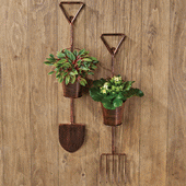 Garden Tool Hanging Planters - Set of 2
