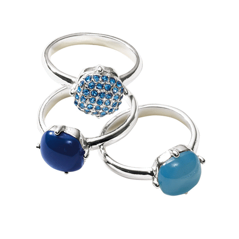 Blue Stackable Cocktail Ring Set