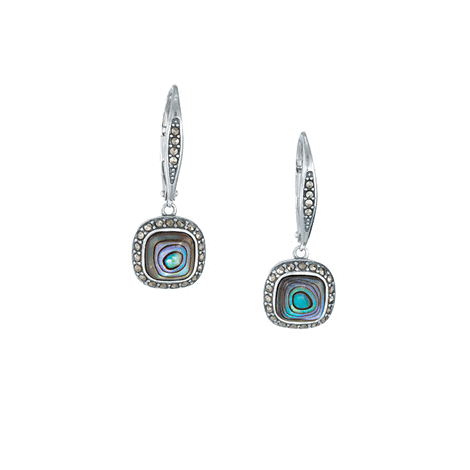 Sterling Silver Abalone with Marcasite Earrings