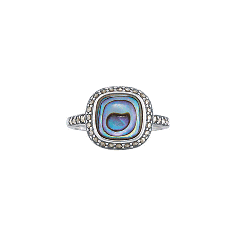 Sterling Silver Abalone with Marcasite Ring