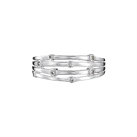 Sterling Silver CZ Accented Layered Ring