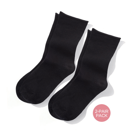 Ladies 2 Pair Pack Non-Binding Crew Socks