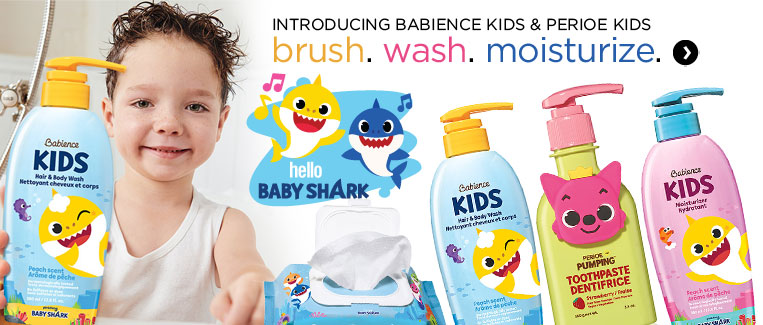 Introducing Babience kids and perioe kids collection. Brush. Wash. Moisturize.