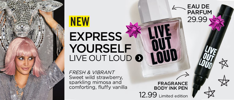 New! Live Out Loud eau de parfum and body ink pen