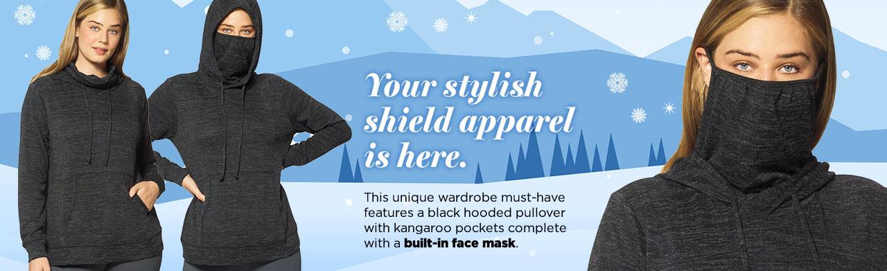 Stylish black hooded pullover complete with a built-in face mask